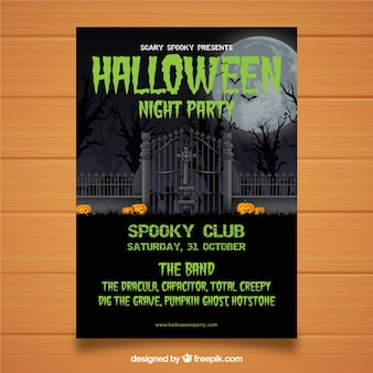 Cemetery halloween party poster