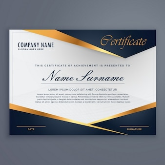 Certificate decorated with blue shapes and golden lines
