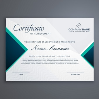 Certificate decorated with blue triangles