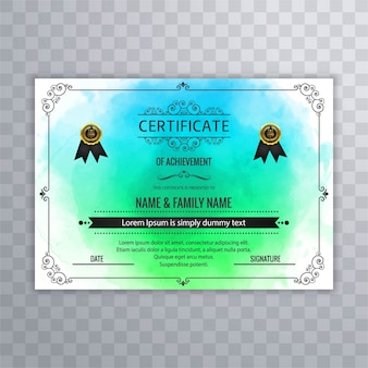 Certificate design in blue and green tones