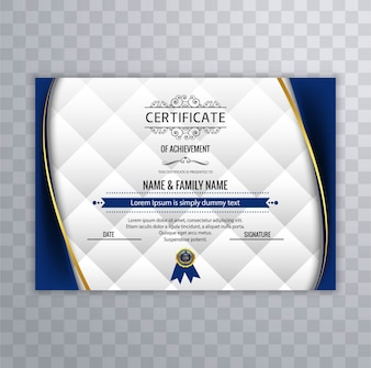 Certificate design with blue wavy shapes