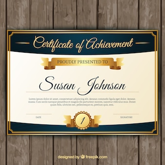 Certificate of achievement with classic golden elements