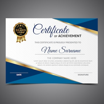 Certificate of achievement with medal