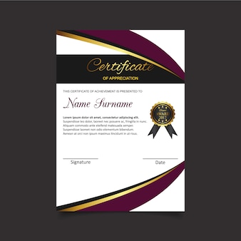 Certificate of appreciation with black medal template