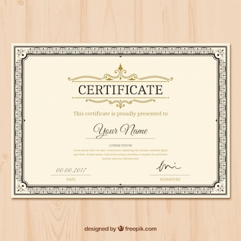 Certificate of appreciation with ornamental decoration