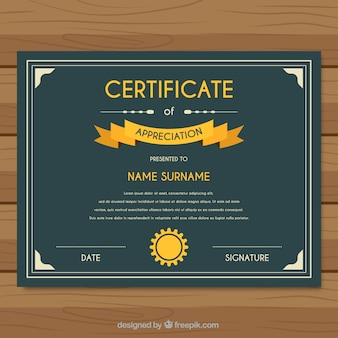 Certificate of appreciation with yellow details