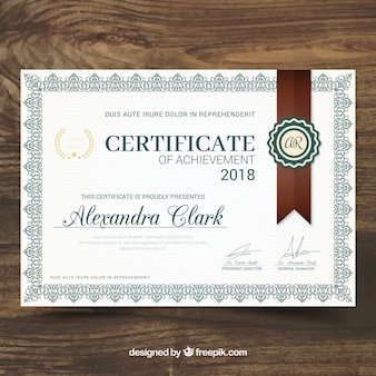 Certificate of recognition in classical style
