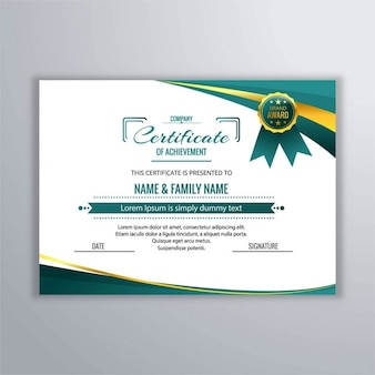 Certificate with abstract design