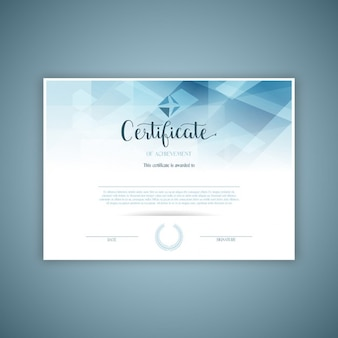Certificate with blue geometric crystals