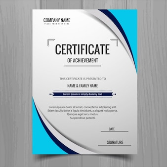Certificate with blue shapes