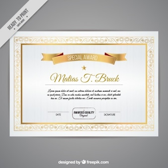 Certificate with golden details