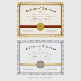 Certificates of achievement