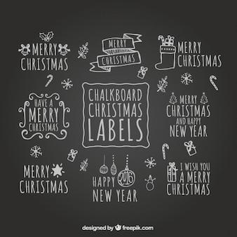Chalkboard christmas labels
