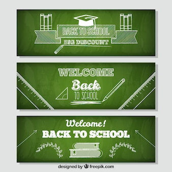 Chalkboard style back to school banners