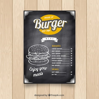 Chalkboard with fast food menu and color details