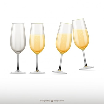 Champagne glasses illustrations