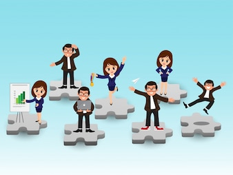 Character of business people on puzzle pieces.
