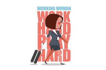 Character of Working Woman lugging briefcase. Business people design flat style