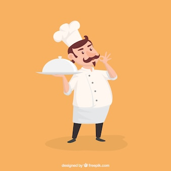Characteristic chef ready to serve