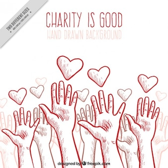 Charity background with hands and hearts