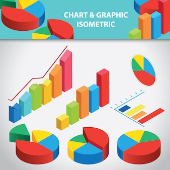 Chart and graphic isometric collection