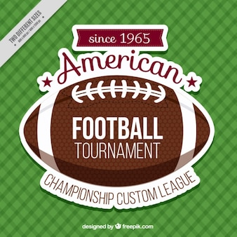 Checkered background with american football ball