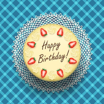 Checkered background with birthday cake