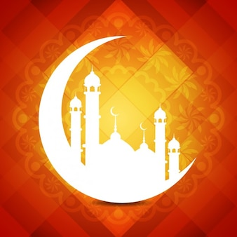 Checkered background with mosque silhouettes
