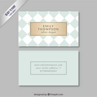 Checkered business card