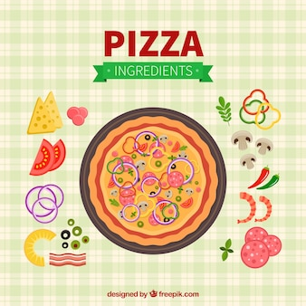 Checkered tablecloth background with pizza and ingredients