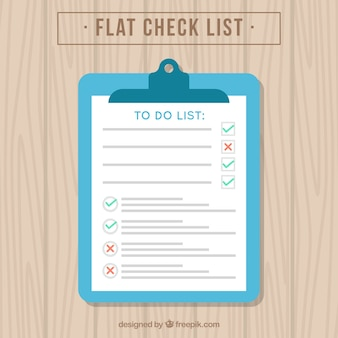 Checklist on a wooden table