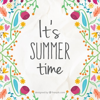 Cheerful background with hand drawn flowers with summer phrase