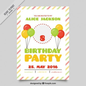 Cheerful birthday card with balloons