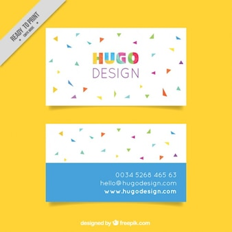 Cheerful business card with colorful triangles