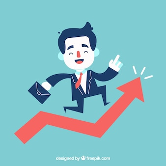Cheerful businessman jumping over growing chart