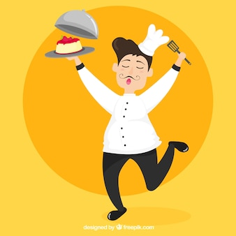 Cheerful chef with delicious cake