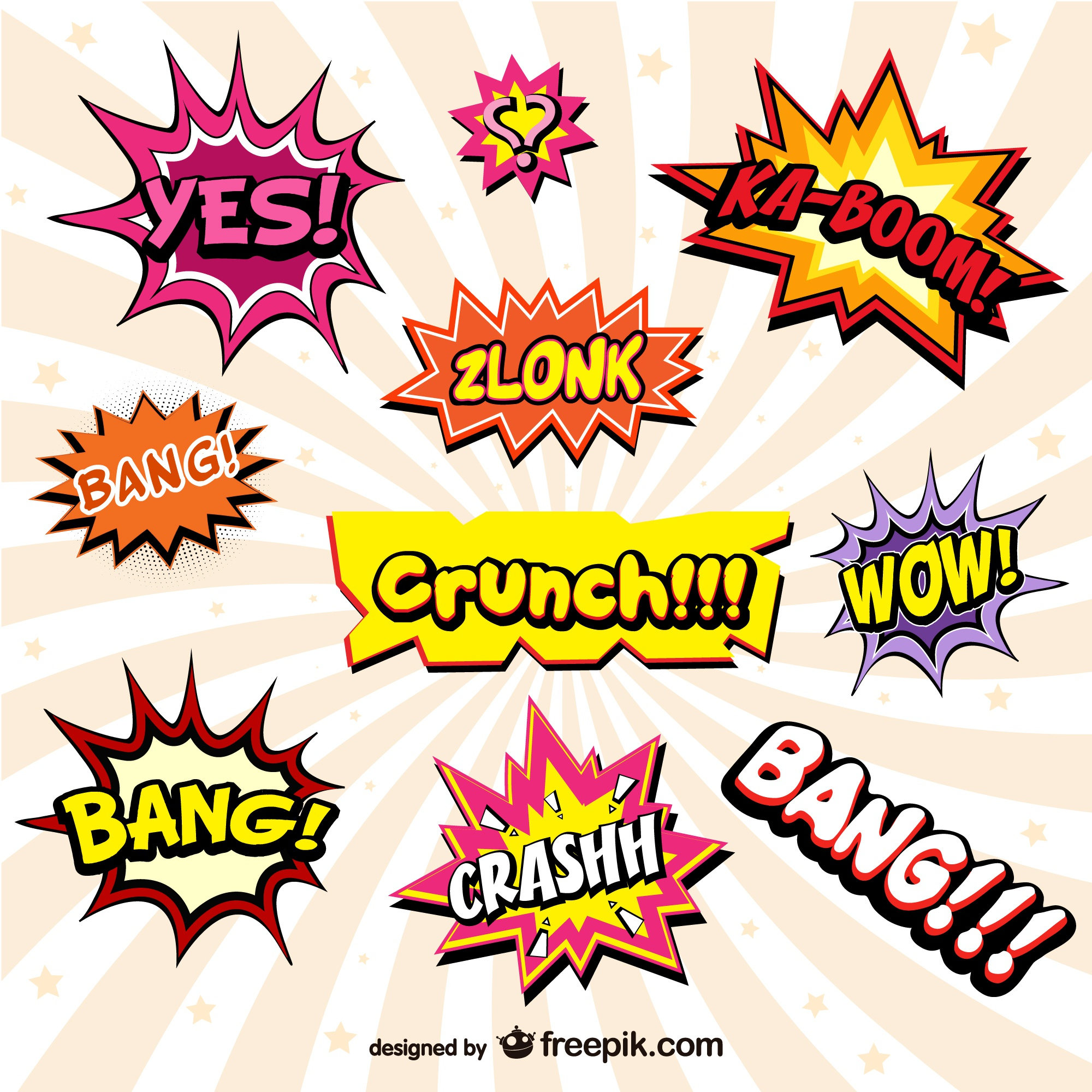 Cheerful comic book onomatopeyas