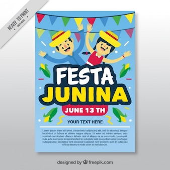 Cheerful festa junina celebration brochure