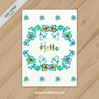 Cheerful floral wreath card with  hello  text
