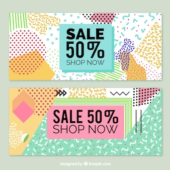 Cheerful sale banners in memphis style