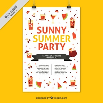 Cheerful summer party poster with flat elements