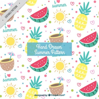Cheerful summer pattern with fruits