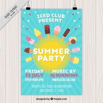Cheerful summer poster with ice-creams