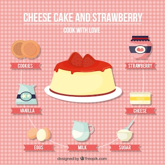 Cheese cake and strawberry recipe