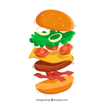Cheeseburger with delicious ingredients