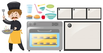 Chef and kitchen equipment set