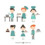 Chef and waitress cartoons