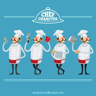 Chef character with variety of gestures