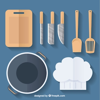 Chef hat and kitchen utensils