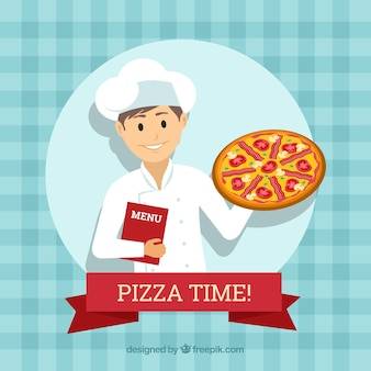 Chef's background with pizza